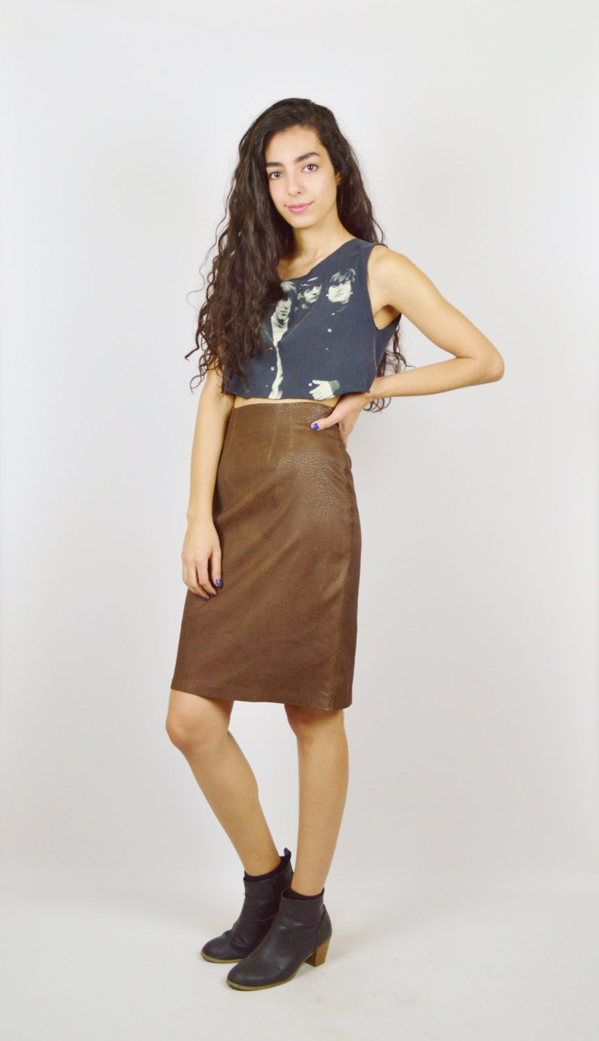 high waisted brown leather pencil skirt by stellarvintique