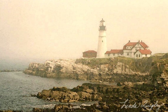 "16x24 Canvas Gallery Wrap-Fine Art Photography-""Afternoon Fog at Portland Head Light""- Maine - Ocean - Fog - mymainemuse"