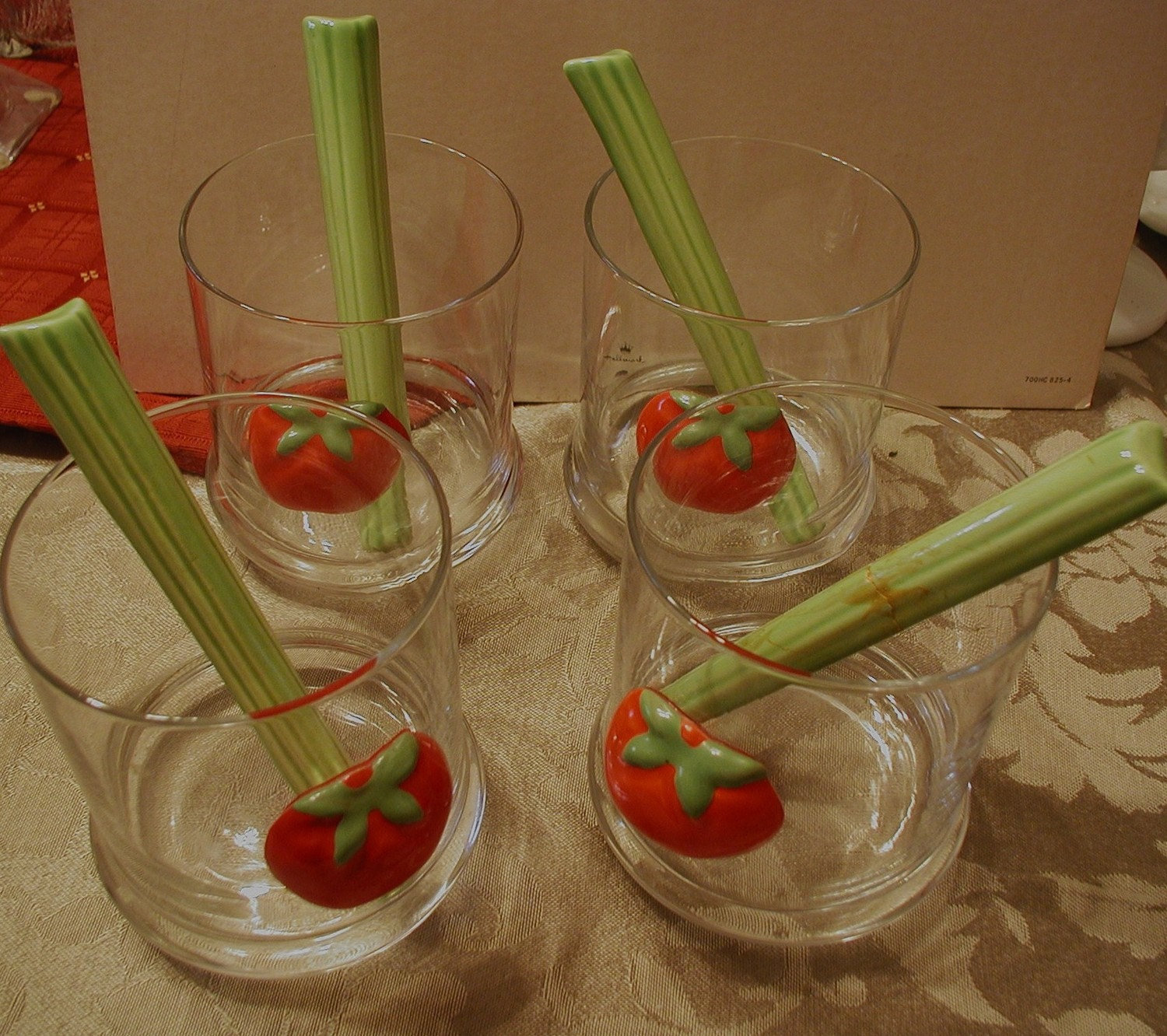 Vintage Bloody Mary Glasses with Ceramic Celery Stirrers