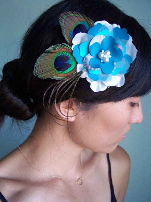 Bridal or Bridesmaid hair piece, peacock feathers, silk flower