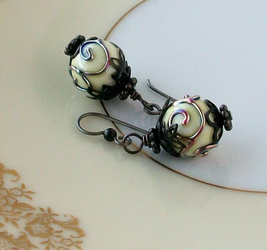 Midnight Lace Artisan Lampwork Glass original design hypoallergenic earrings