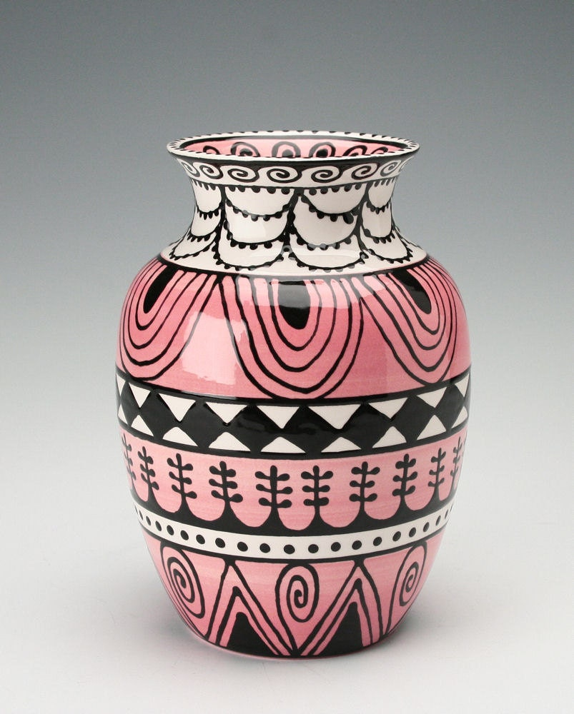 lovely vase pink black white ornate hand by owlcreekceramics
