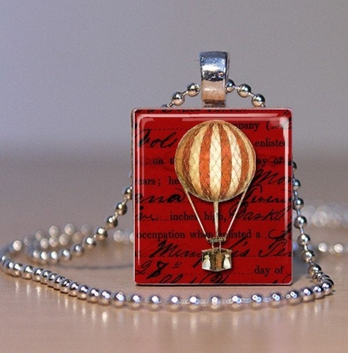 Vintage Balloon Art on Red Background - Upcycled Scrabble Tile Pendant