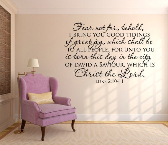 scripture wall decal fear not for behold by wearevinyldesigns. Black Bedroom Furniture Sets. Home Design Ideas