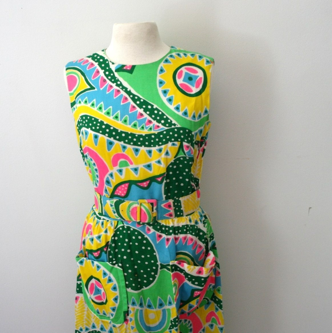 vintage Day Glow Geometric Summer Picnic Dress
