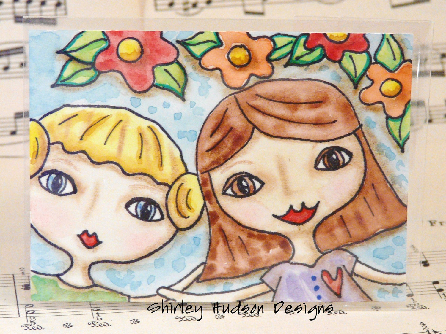 Best Friends in the garden Original ATC card - ACEO sisters girls women watercolor ink painting