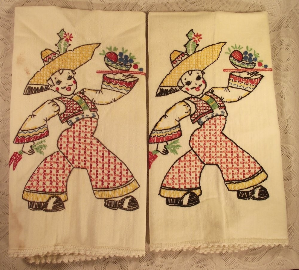 Vintage Kitchen Cloths with Hand Embroidery of Mexican Boy Dancers