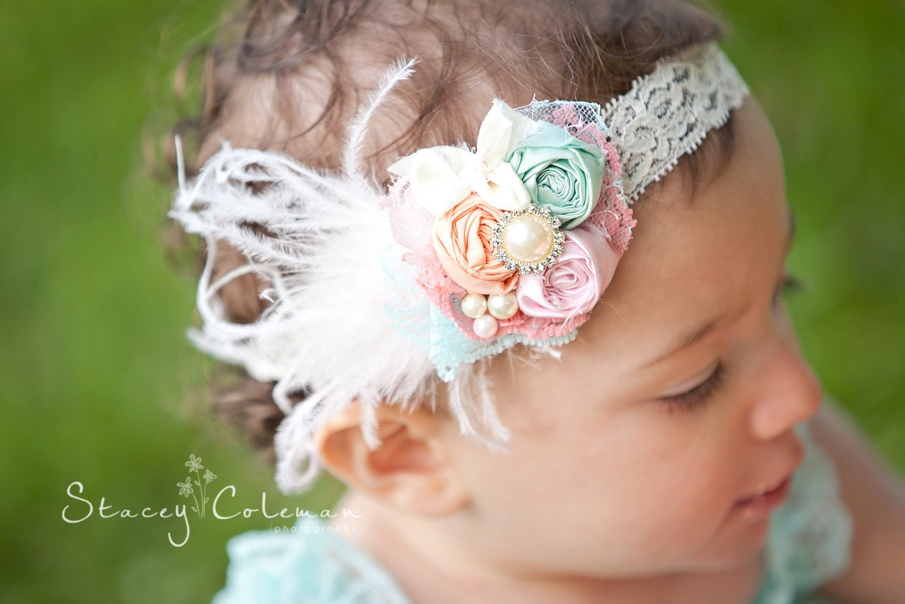 Baby Girl Headband-Baby Headbands-Rosette Headband-Newborn Headbands-1st Birthday Girl Headband-Flower Girl Headband-Photo Prop - AvryCoutureCreations