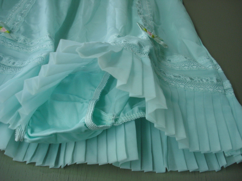 vintage 60s Pastel Aqua blue Panty slip Pleats Lace Ribbons
