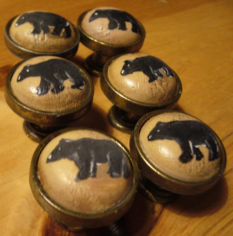 Hand Painted Cabinet Knob Pulls Black Bears By Thebackyardbear