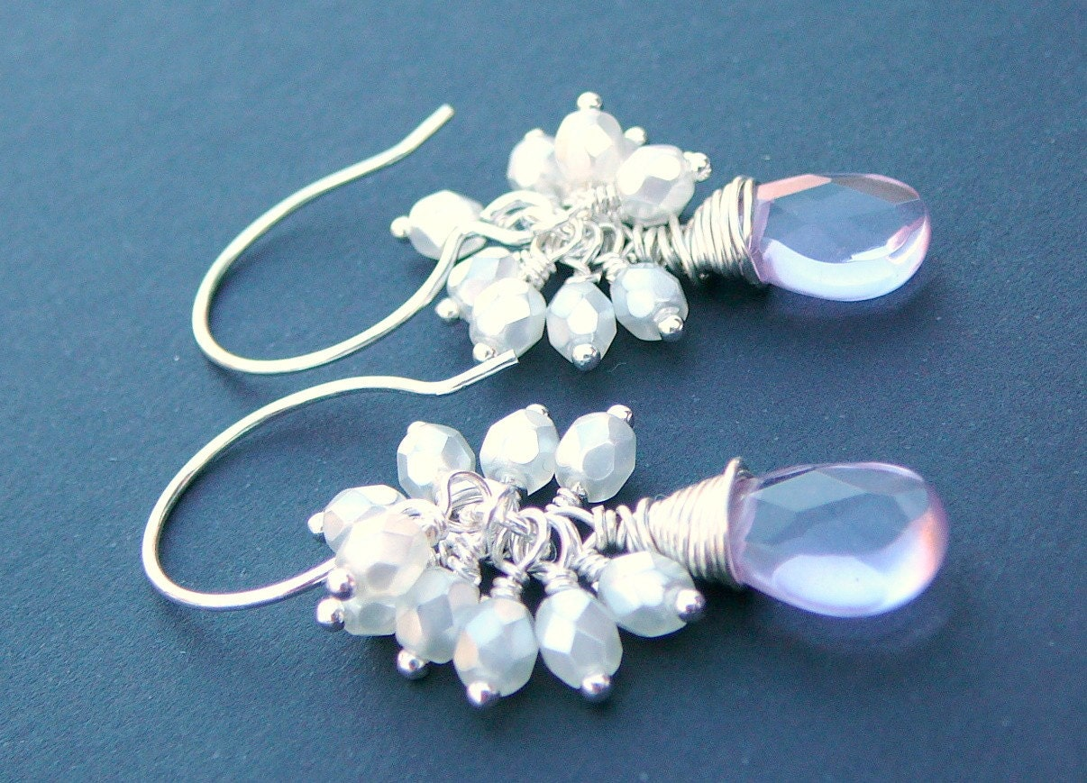 Sterling Silver Wire Wrapped Earrings With Lavender by beadsme from etsy.com