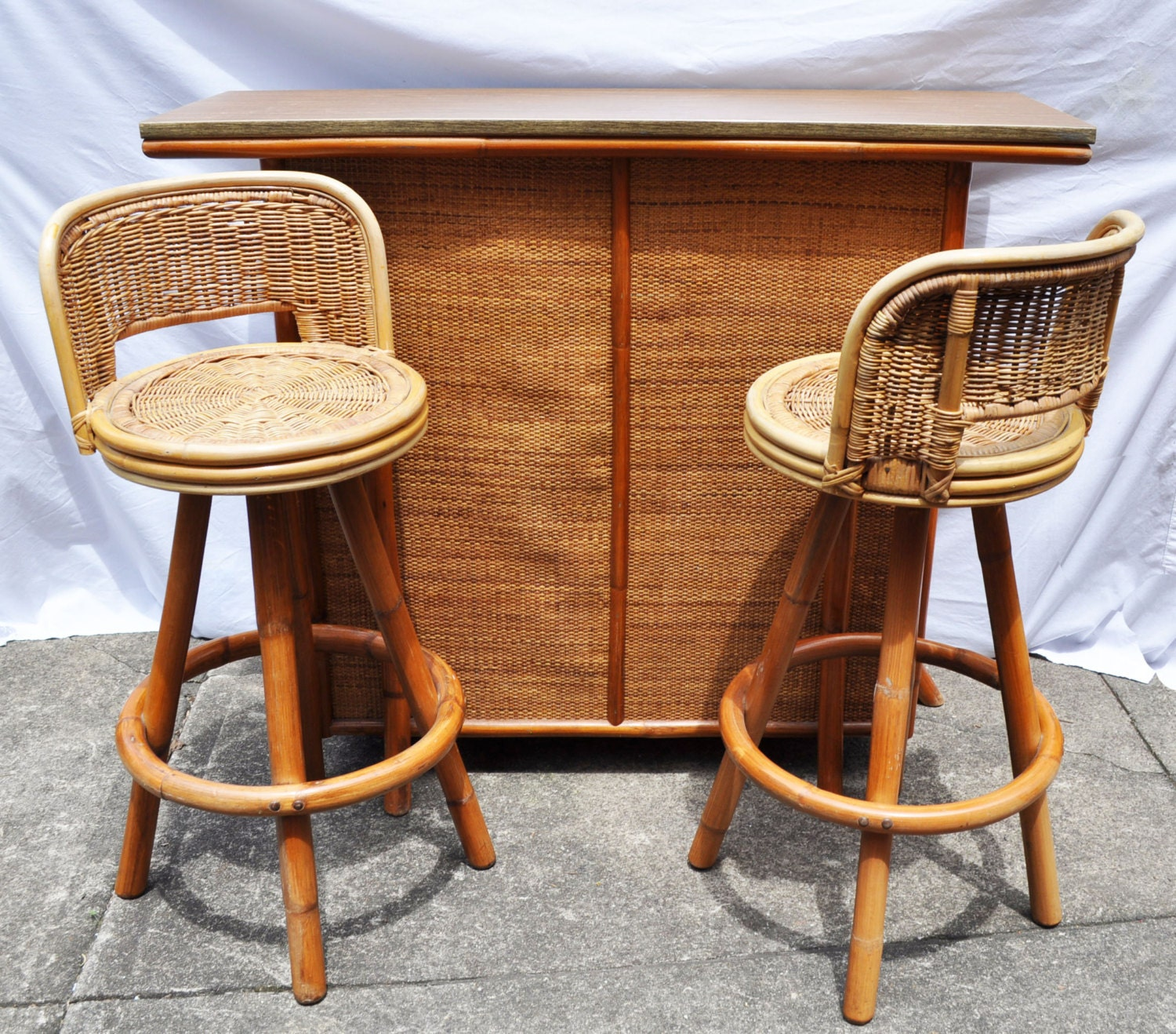 Vintage Tiki Bar And Swivel Stools Bamboo Rattan Wicker By