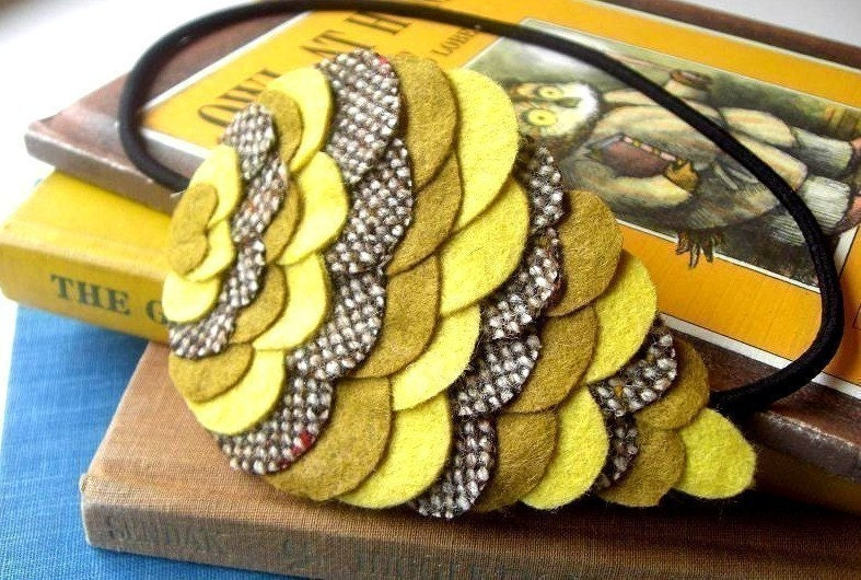 Woodland Owl Wing Headband - Dijon Mustard - Made to order