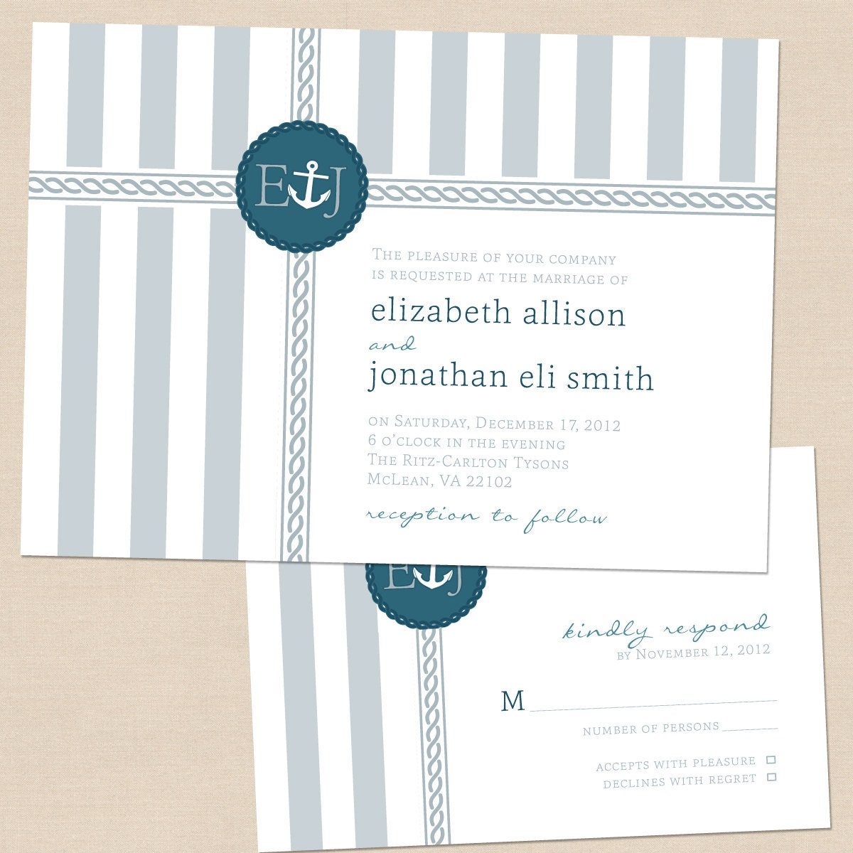 Nautical Stripes Modern Wedding Invitation RSVP Set