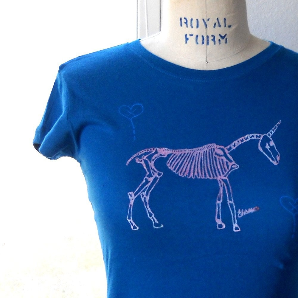 Unicorn Skeleton Tee juniors sz M