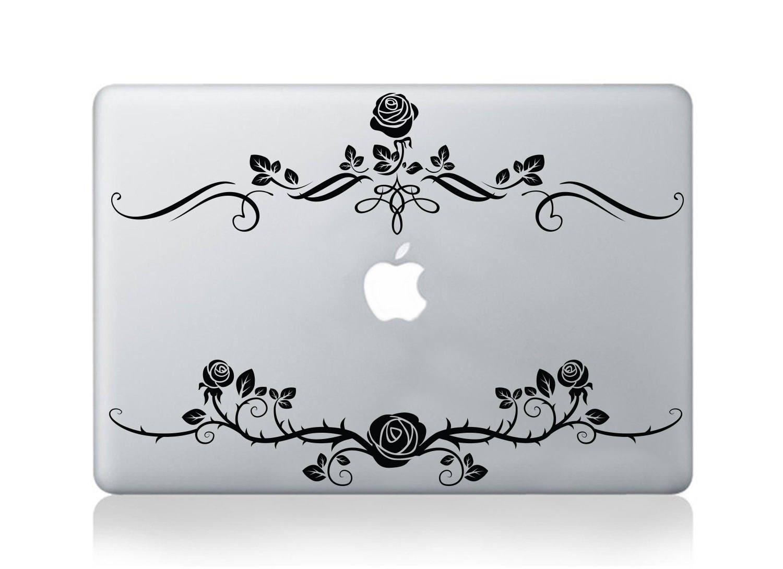 Macbook Decal Rose Flower  Floral Laptop Sticker  Rose Flower Decal  Laptop Cover  MacBook Transfer  Rose Decal