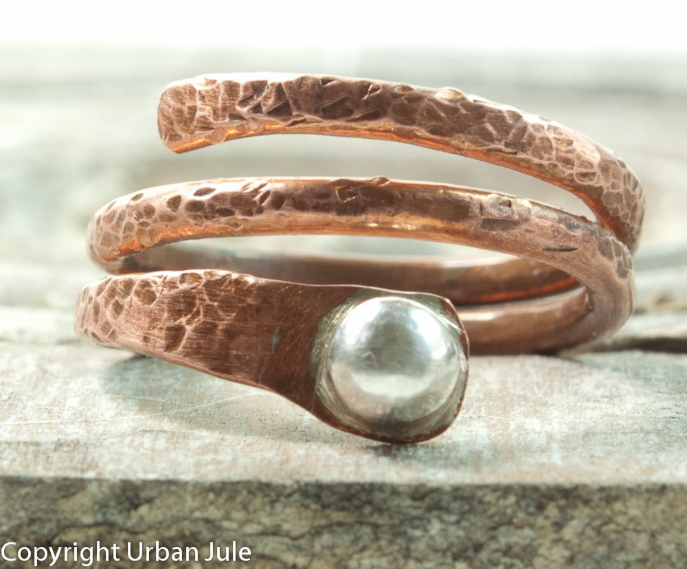 Stacking Ring Copper Stack Ring Copper and Silver Stackable Ring - UrbanJule