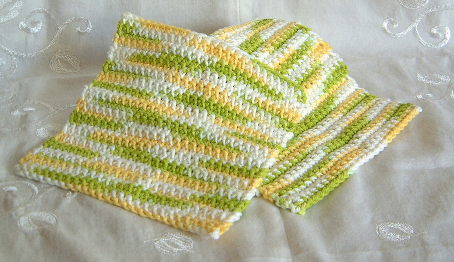 Yellow, Green, and White Cotton Crochet Wash or Dish Cloths