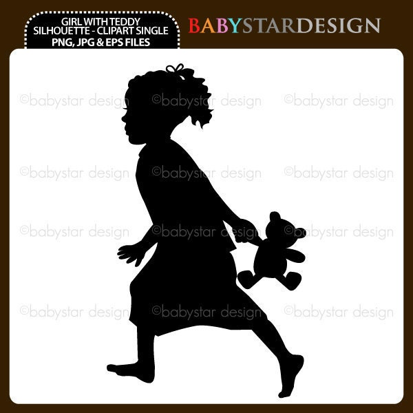 Girl With Teddy Silhouette - Clipart Single INSTANT DOWNLOAD - babystardesign