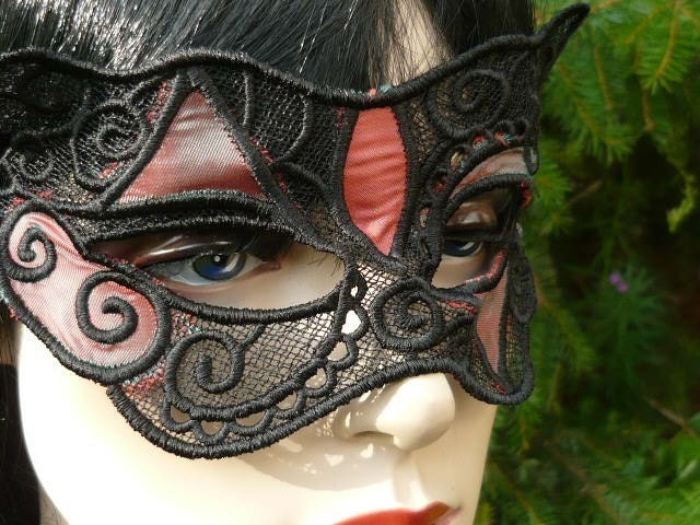 Lace Mask and Choker Swarovski Crystal Halloween Goth