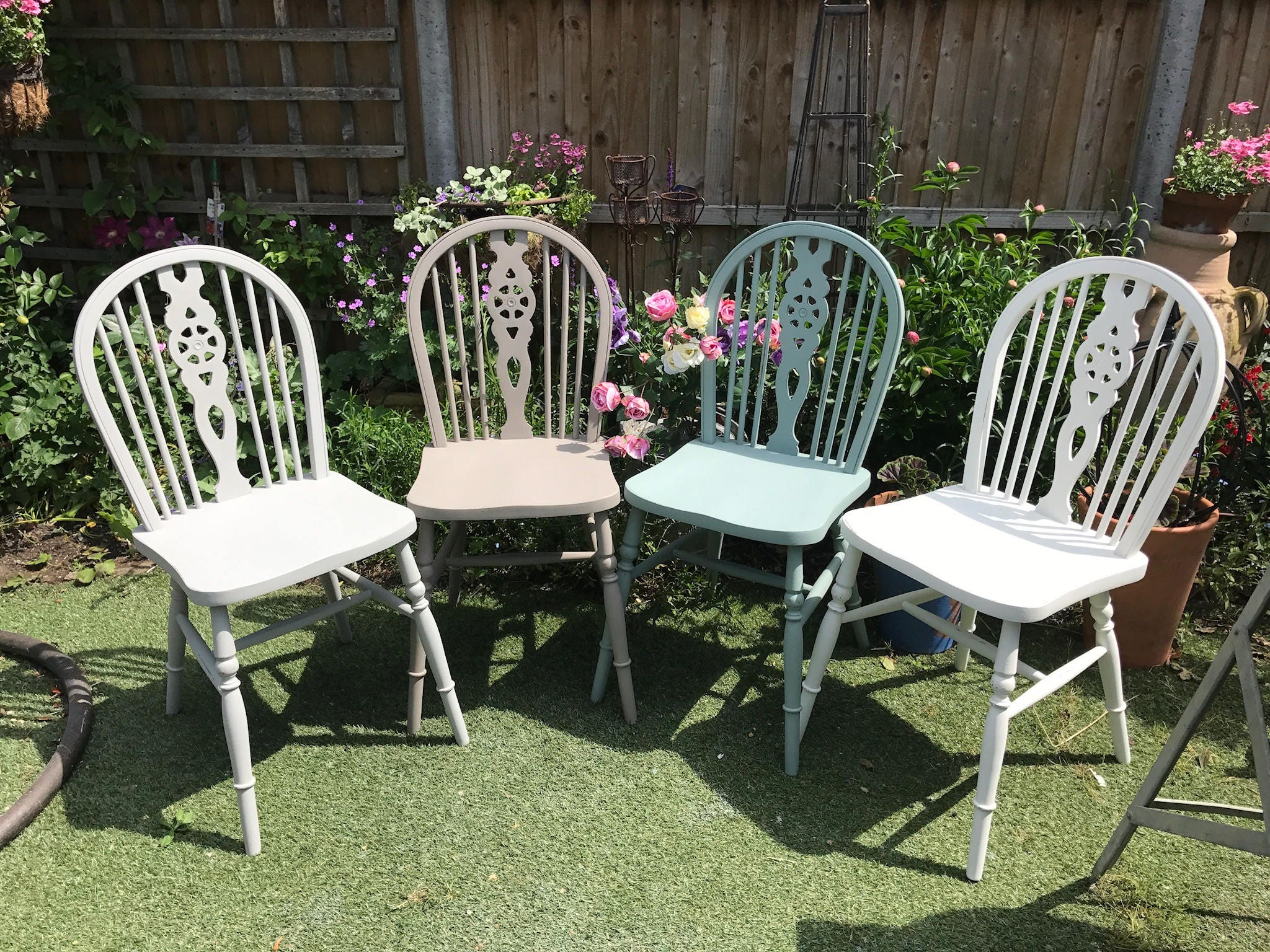 A Set of Four Antique Victorian Windsor Wheel Back Dining Chairs