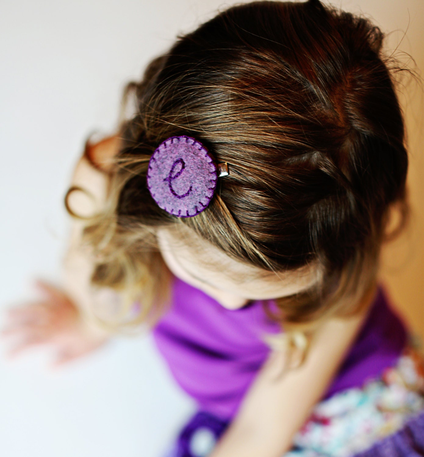Girls Personalized Hair Clip, Girls Initial Hair Clip, Girls Felt Hair Clip, Hair Accessory, Toddler Monogram Hair clips, Purple, Modern - SweetSapling