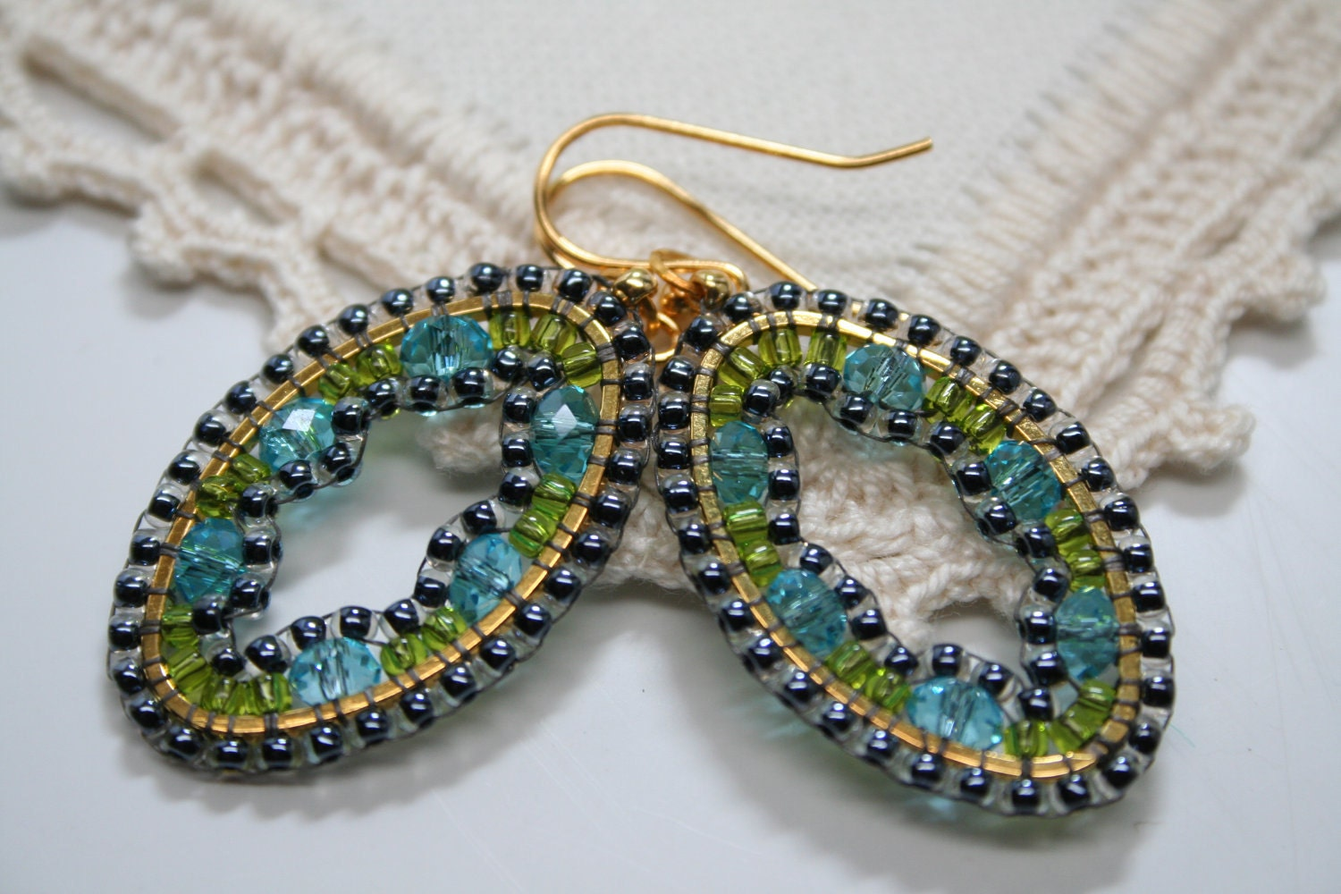 Crystal Embroidered Mosaic Seed Bead Earring Hoops