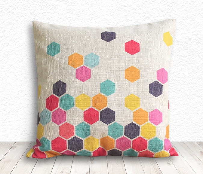 Geometric Pillow Cover, Pillow Cover, Pillow Cover Geometric, Linen Pillow Cover, 18x18 - Printed Geometric - 101 - 5CHomeDecor