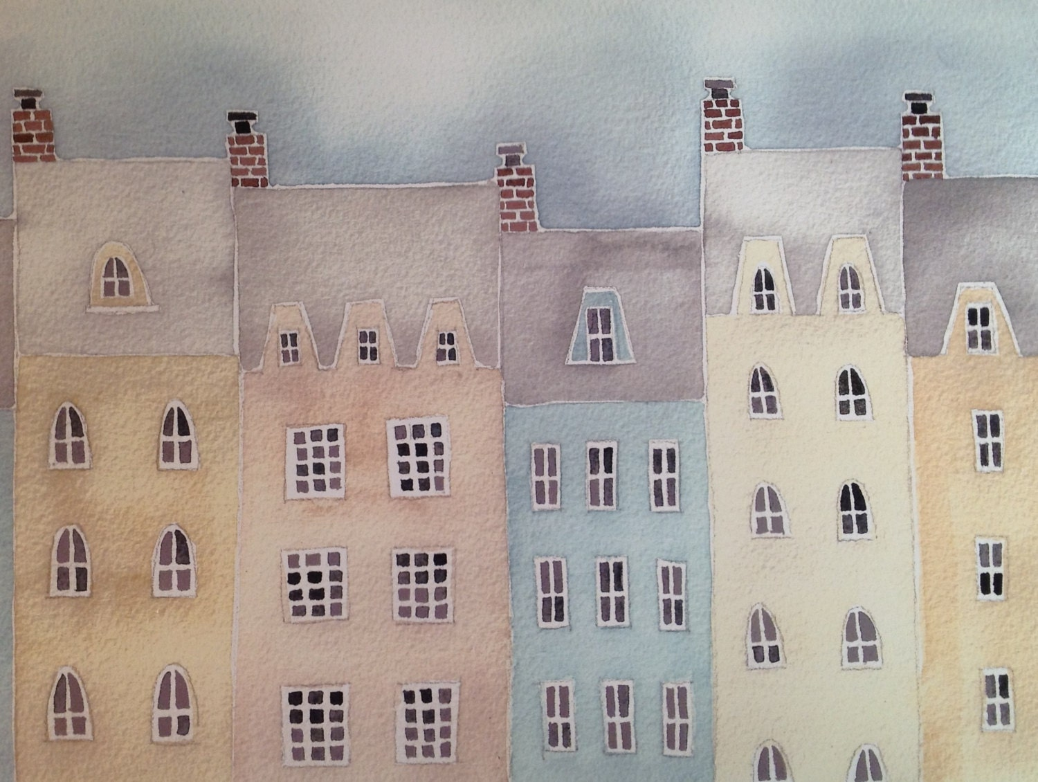Village Rooftops, pale neutral colors, soft, watercolor and gouache, buildings, print of original painting - plumwaterdesigns