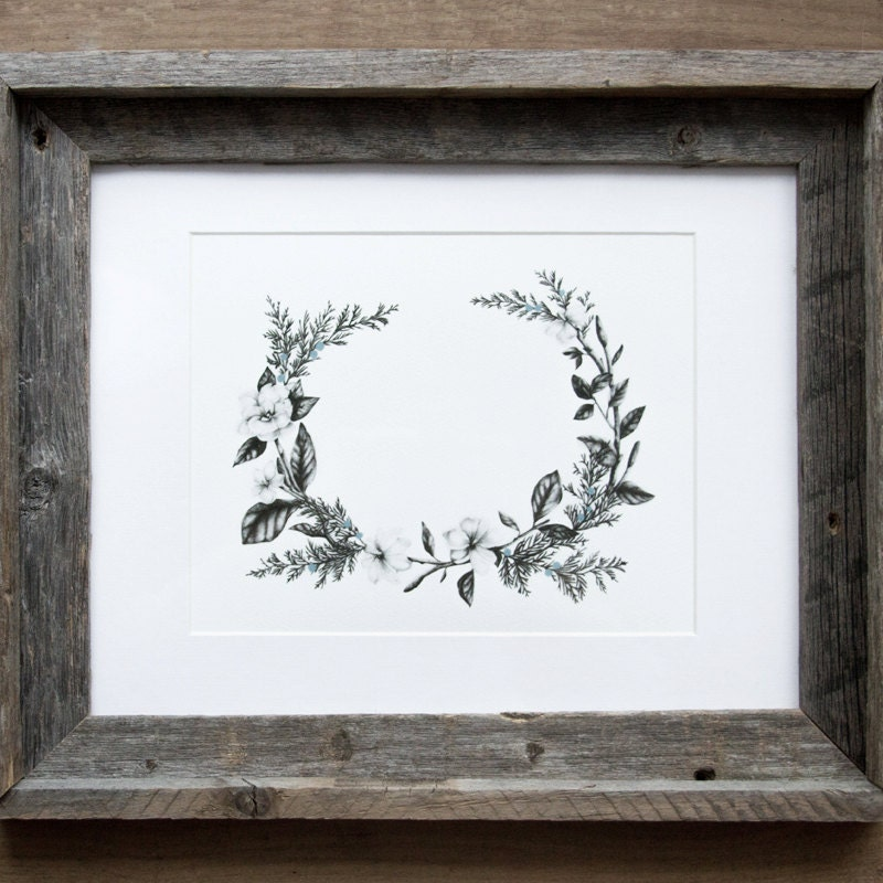 Floral Wreath 8x10 Giclee Print - BurrowingHome