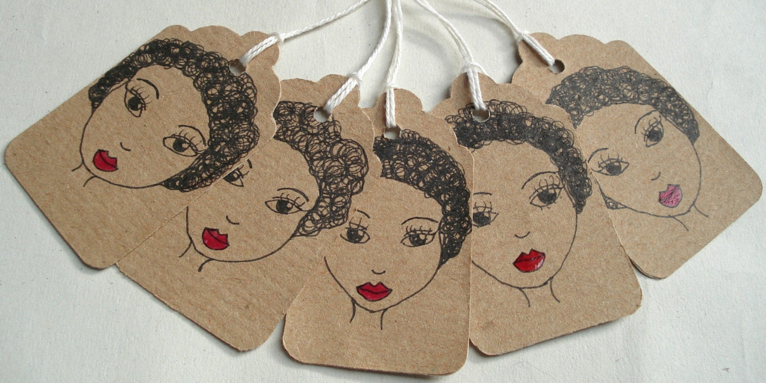 Afro Girl Handmade Gift Tags - Set of 5