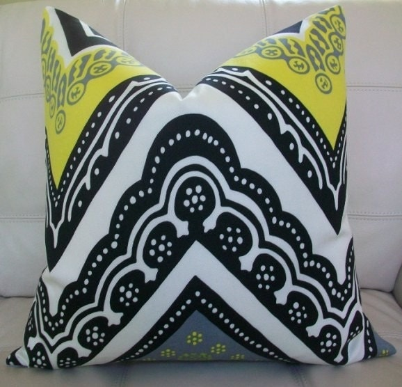 Decorative Designer Pillow Cover - 20X20 - Trina Turk for Schumacher - Tangier Frame Print in Driftwood