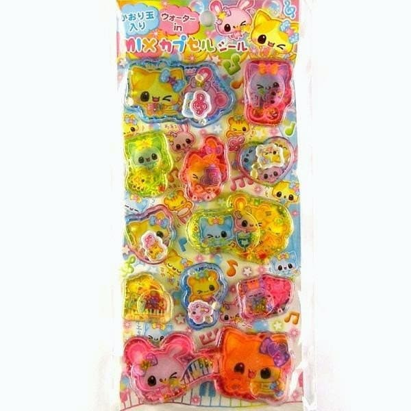 Kawaii  Glittery Mascots And Beads In Stickers Cream Baby By Kamio Japan L Size  (S749)