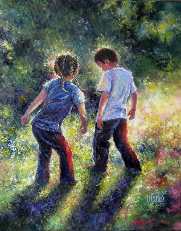 Lets dance print boy and girl brother and by vickiewadefineart for Paintings of toddlers