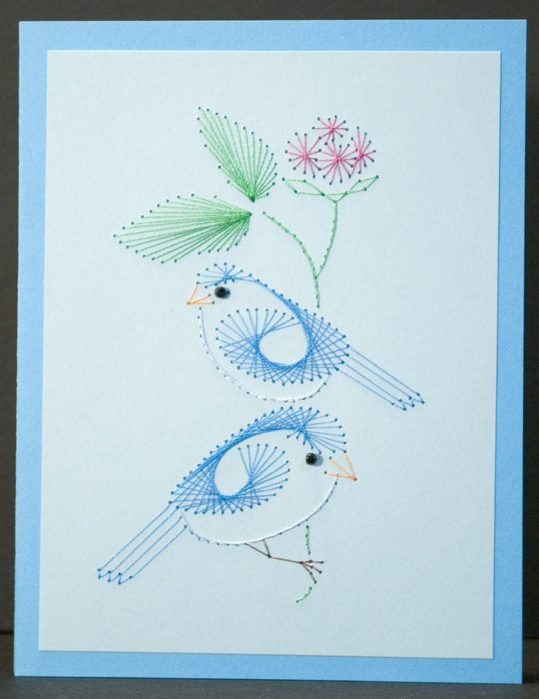 Blue embroidery « origami