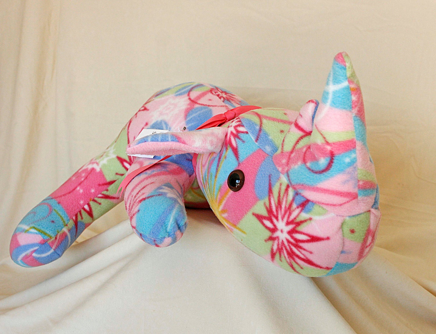 Pinkie the Rhino, Animal Toys, Stuffed Animals - sallyressler