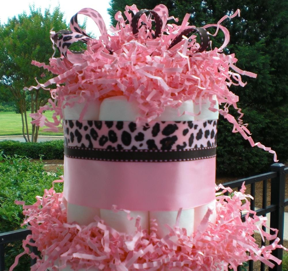 Japan Disaster Relief - Eco Friendly 3 Tier Pink Cheetah gDiaper Cake Baby Shower Gift