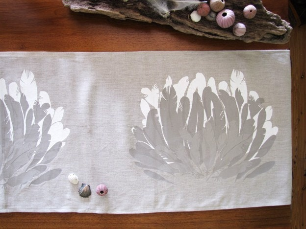 Feather Table Runner Length 1.8m Linen screen printed off white taupe grey taupe