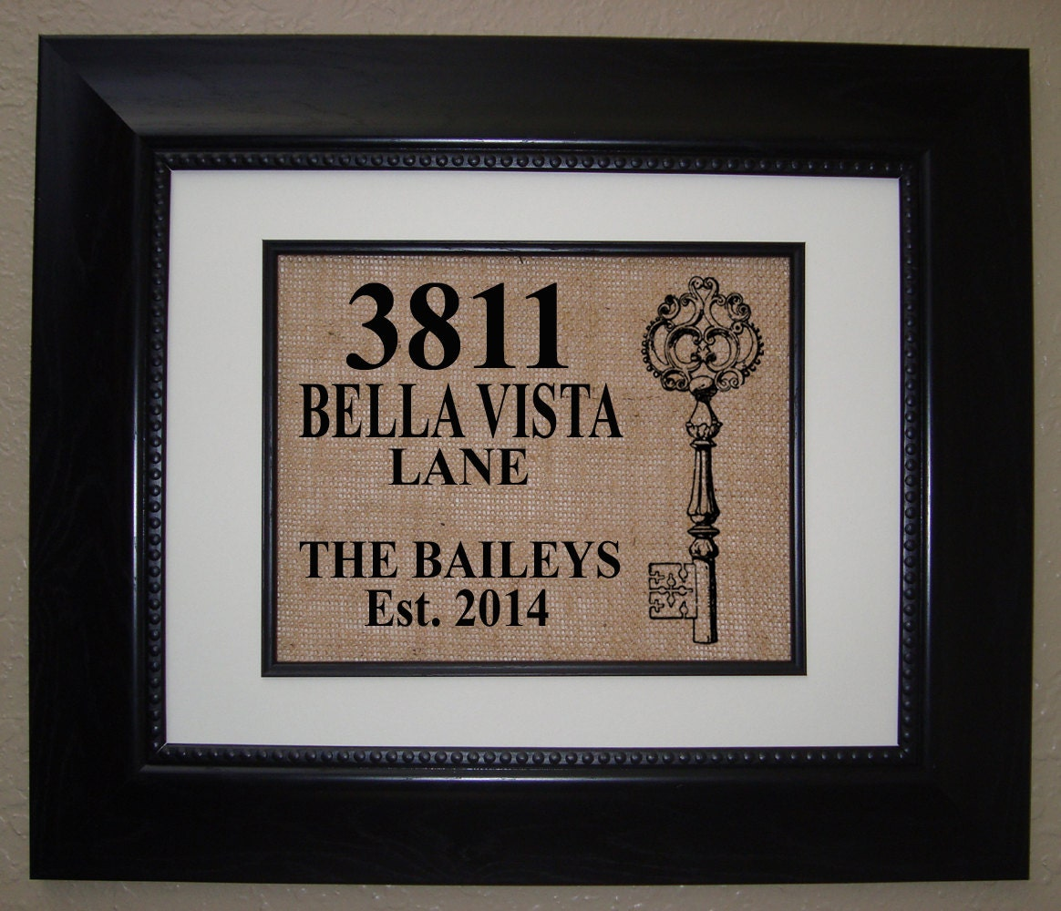 Personalized House Warming Gift Burlap Print Makes By
