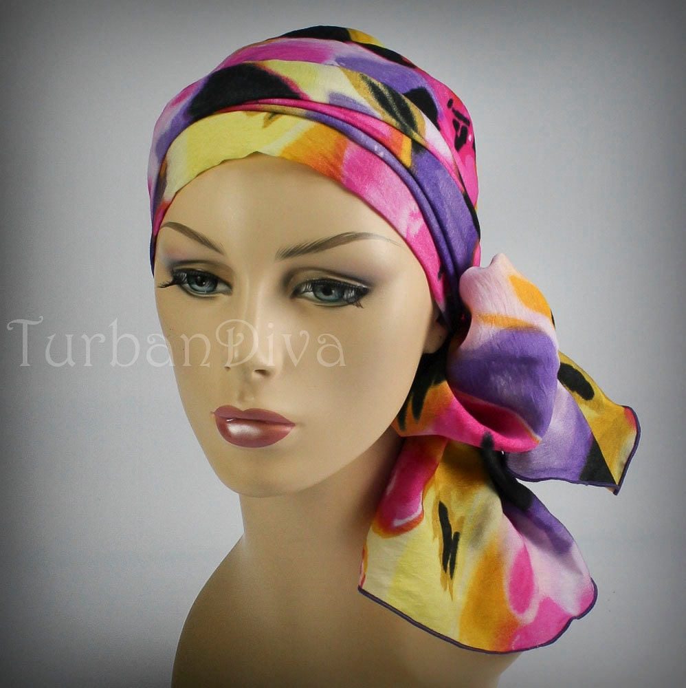 Purple Pattern Turban Chemo Head Wrap Alopecia Scarf by TurbanDiva Chemo Head Scarf Sewing Pattern