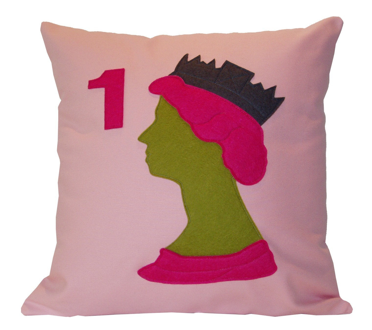 PINK QUEEN ELIZABETH II STAMP CUSHION/PILLOW
