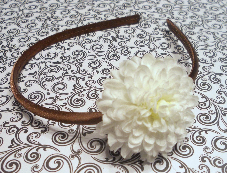 Brown Satin Headband With White Flower