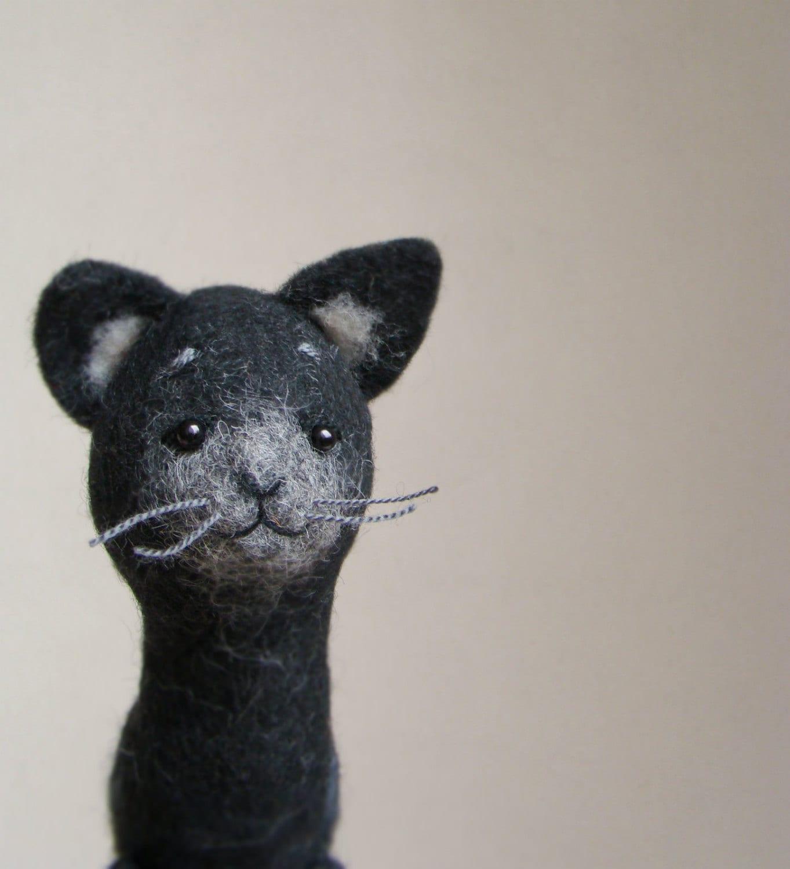 Felix - Felt Cat. Art Puppet Felted Stuffed Toy Animal Kitten , mteam halloween black grey silver dark deep for him. MADE TO ORDER - TwoSadDonkeys