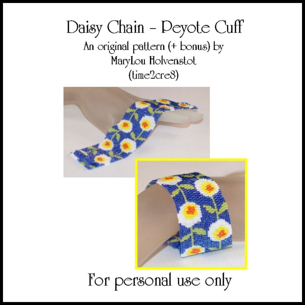 Daisy Chain Peyote Bracelet / Cuff - PDF Pattern for Personal Use Only (includes Bonus Pattern)