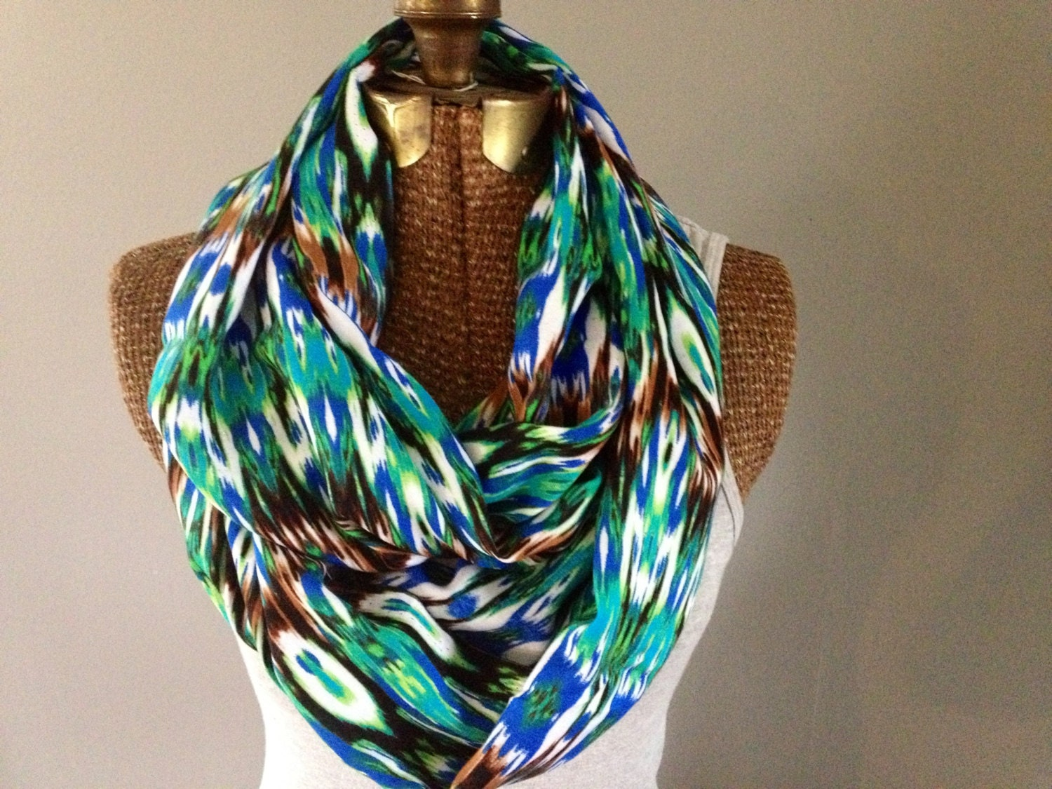 Peacock Printed Eternity Scarf