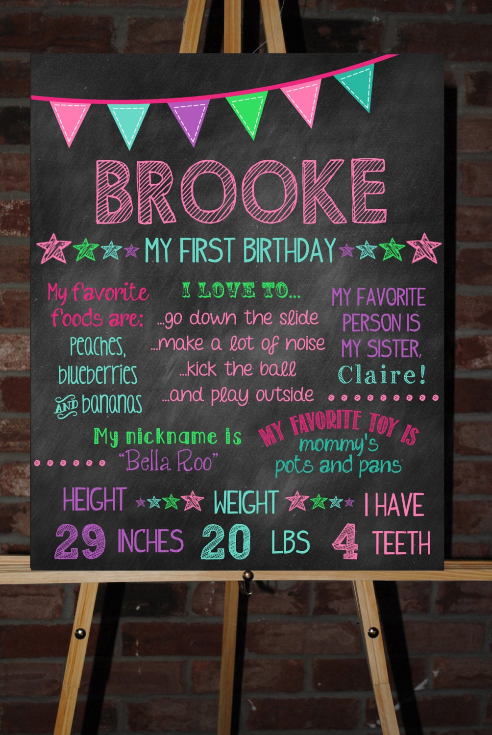 Custom Printable First Birthday Board Poster Sign