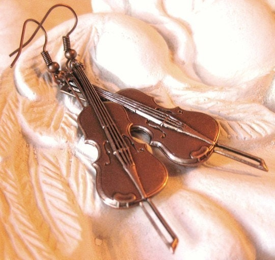 Music to My Ears - copper violin earrings