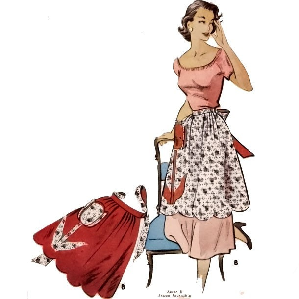 :: UNCUT One Size VINTAGE 1950's SEWING PATTERN Half Apron