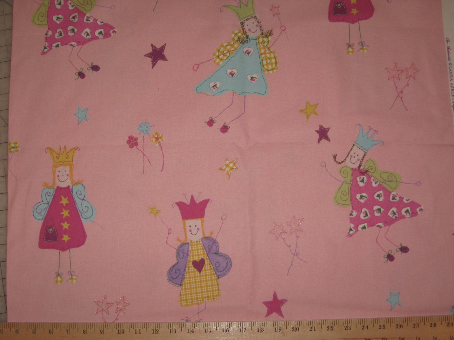 Laura Ashley Home Decor Fabric Fairies On Pink By