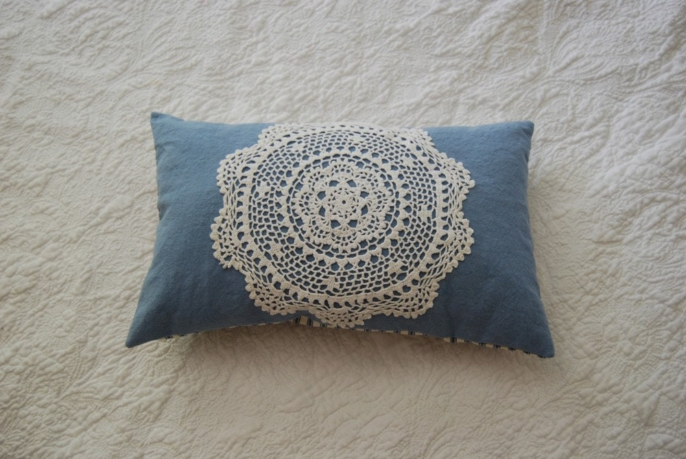 Travel pillow light blue hemp cushion vintage doily and ticking kapok small